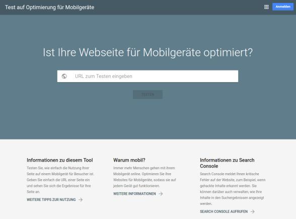 Wie (gut) ist die Homepage für Mobilgeräte optimiert?