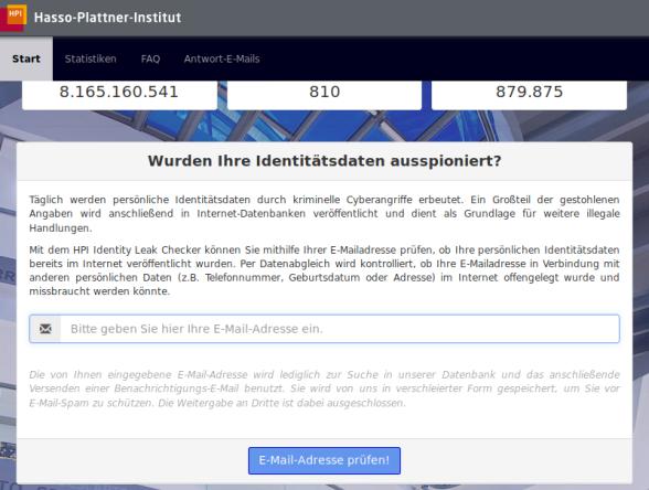 1. Wurden Ihre Identitätsdaten auspioniert? ... Bitte in das Bild klicken, sie werden zu der Webseite des Hasso-Plattner-Institut weitergeleitet.
