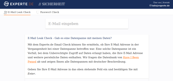 2. E-Mail Leak Check, die deutsche Version von ';--have i been pwned?